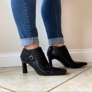 Bandolino Faux Leather Square Toe Ankle Bootie